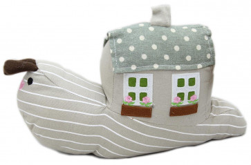 Cotton Fabric Polka Dot Spotty House Home Snail Doorstop ~ Grey