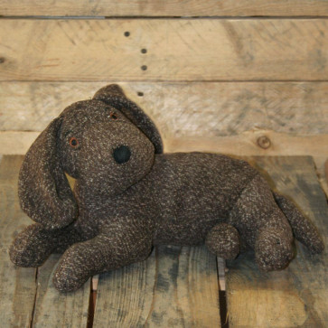 Brown Knitted Effect Fabric Laying Dog Doorstop ~ Decorative Brown Dog Door Stop