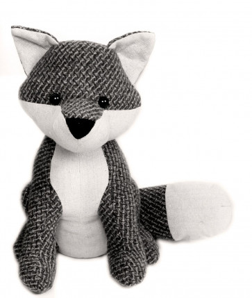 Textured Fabric Fox Doorstop ~ Grey British Wildlife Fox Door Stop