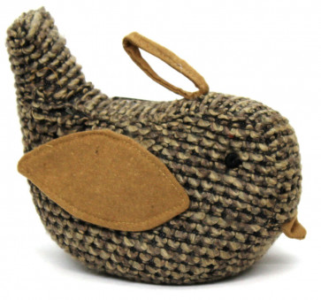 Chunky Knitted Woolly Bird Doorstop ~ Decorative Bird Door Stop Brown