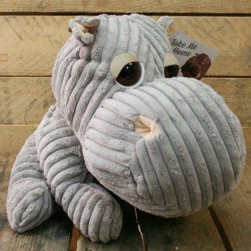 Take Me Home Hippo Door Stop ~ Chunky Cord Ribbed Hippo Doorstop - Grey