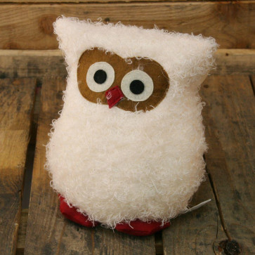 Fluffy Owl Doorstop ~ Owl Door Stop White