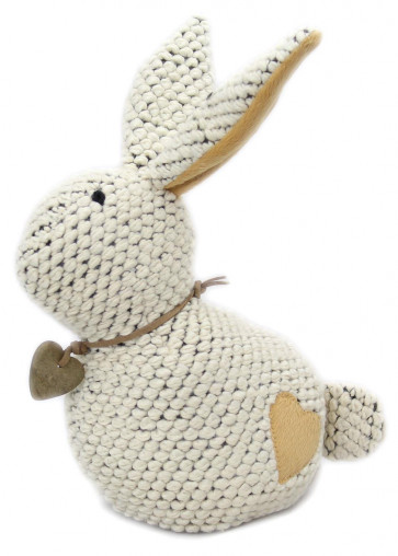 23cm Take Me Home Chunky Knitted Decorative Rabbit Doorstop ~ Cream