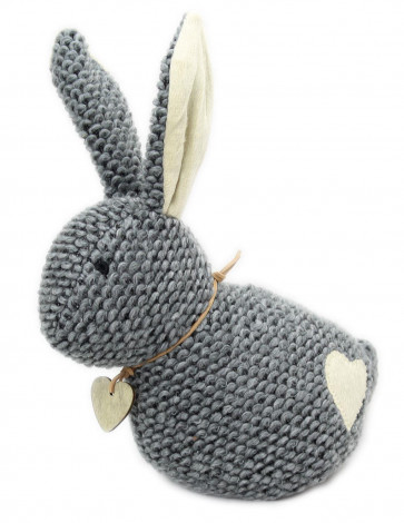 23cm Take Me Home Chunky Knitted Decorative Rabbit Doorstop ~ Grey