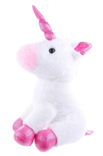 Plush Fabric Cuddly Unicorn Door Stop ~ Magical Sparkly 30cm Pink and White Doorstop