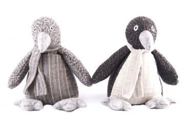 Grey Houndstooth Striped Fabric Penguin Doorstop ~ Designs Vary