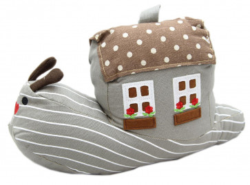 Cotton Fabric Polka Dot Spotty House Home Snail Doorstop ~ Brown