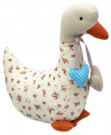 Pretty Floral Fabric Striped Polka Dot Heart Duck Doorstop