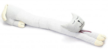 85cm Grey And White Stripe Cat Draught Excluder