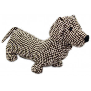 Herringbone Fabric Sausage Dog Doorstop 35Cm ~ Brown Dachshund Puppy Dog Door Stop