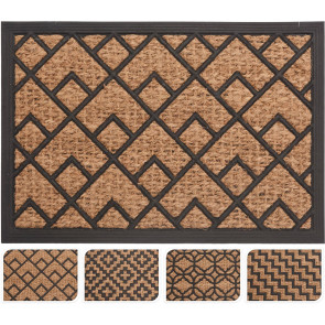 Rubber Geometric Design Coconut Fibre Coir Front Door Welcome Entrance Mat Natural Doormat 40x60cm ~ Design Varies